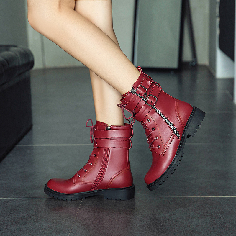 New 2018 winter Lace Up Fashion ankle boots for women botas femininas black hunter martin boots