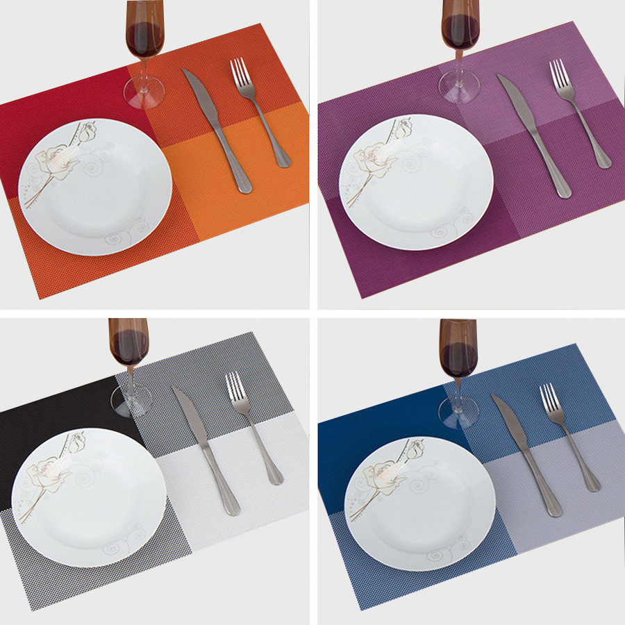 4pcs lot 30 45cm square placemats dining tables place mats for Table ronde 6 places