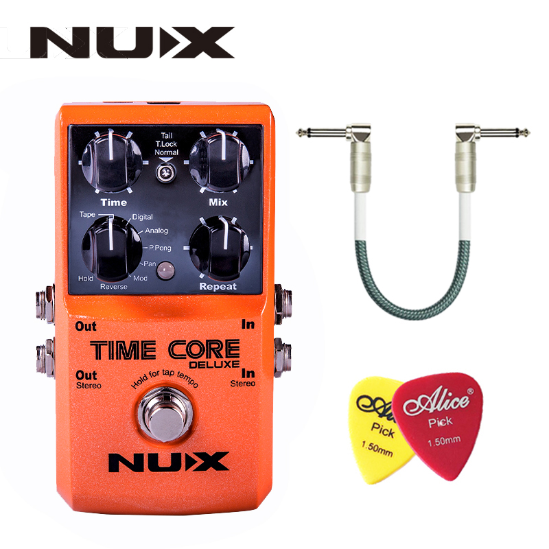 NUX Time Core Deluxe Delay Pedal Guitar Effect Pedal with Looper Tone lock True Bypass Upgrade mode With Pedal line and picks nux metal core distortion effect pedal true bypass guitar effects pedal built in 2 band eq tone lock preset function guitar part