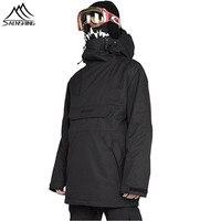 SAENSHING Unisex Snowboard Jacket Men Women Waterproof Windproof Snow Ski Jacket Black Very Cool Outdoor Skiing