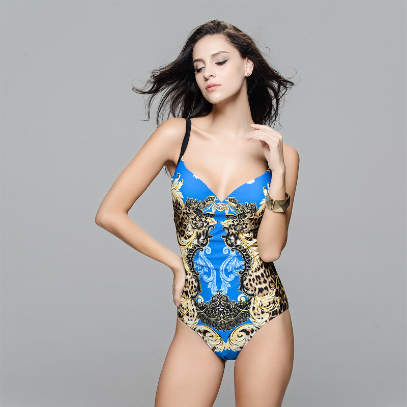 Ladies high quality swimsuit digital leopard print one piece swimwear women s beautiful bathing suit free