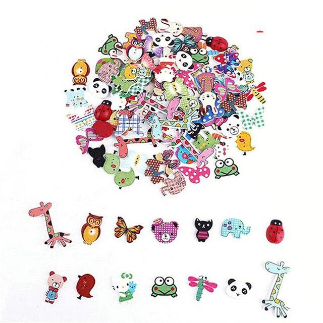 50 pcs Aleatória Mista Dos Desenhos Animados Animal Ave/Porco/Coelho Botão Contas De Madeira Para Acessórios De Costura DIY Ofício Scrapbooking fazendo
