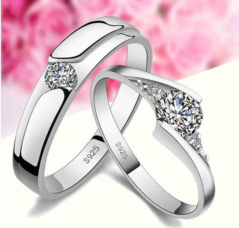 1 Piece Fashion Silver Plated Crystal Rhinestone Couple Rings for Men/Women 925 Engraved Wedding Engagement Lovers Ring