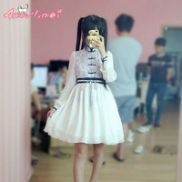Chinese Style Women Dress Blue And White Floral Print Cute Princess Lolita Dresses Kawaii Mori Girl