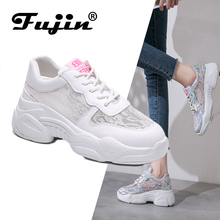 Fujin Casual Shoes Women Flats Thick Bottom Mesh Hollow Breathable Summer for Female Small White Lace Up Sneakers