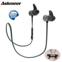 Askmeer Bluetooth Earphone IPX5 Waterproof Metal Magnetic Wireless Sport Earbuds Headset In Ear Earpiece With Mic
