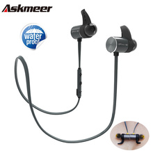 Askmeer Bluetooth наушники IPX5 Водонепроницаемый Металлические Магнитные Беспроводной спортивные наушники гарнитуры в ушной динамик с микрофоном Handfree звонки