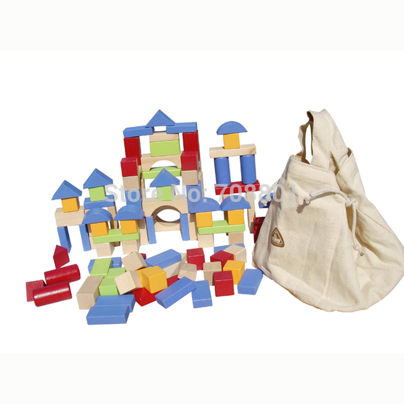 ELC 100 Bricks Toy Wooden Building Blocks - Storage Bag Confirm to EN 71 elc водный