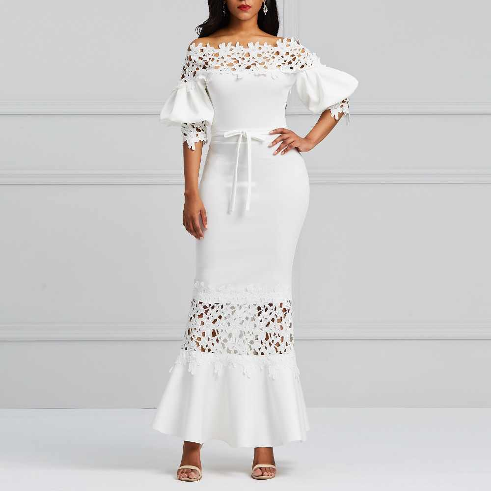 Clocolor Elegant Long Dress Women White Lace Slash Neck Mermaid Dresses Sexy Hollow Lace-Up Bodycon Party Maxi Dresses Vestidos