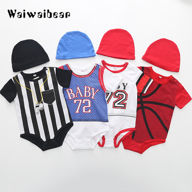 1764b3a3e7c1 Summer Basketball Baby Rompers Baby Girl Clothes Cotton Short Sleeve  Toddler Jumpsuit Infant Baseball Boy Sport Suit outfit Cute