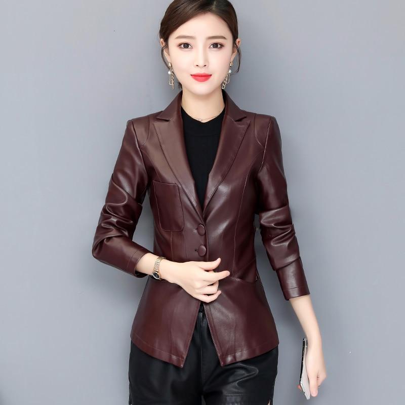 2019 New Women Elegant   Leather   Blazers and Jackets Plus Size Solid Soft Sheepskin   Leather   Coat Female PU Jacket Women's Costumes