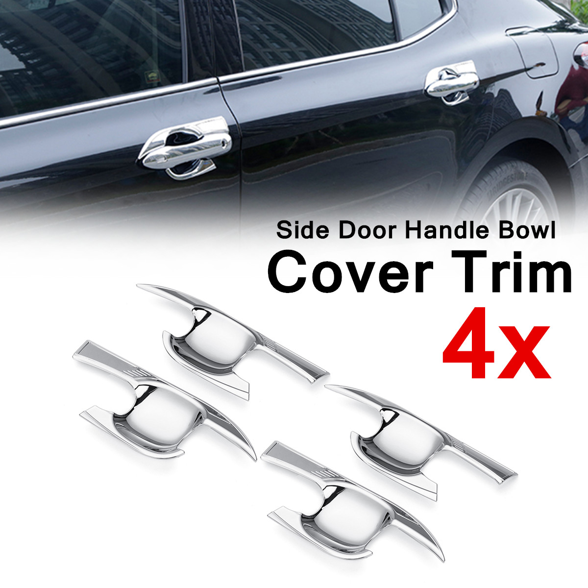 4PCS ABS Chrome Side 265x106mm Door Handle Bowl Cover Decor Trim Fit for Toyota Camry 2018 Easy to Install High-end Charming