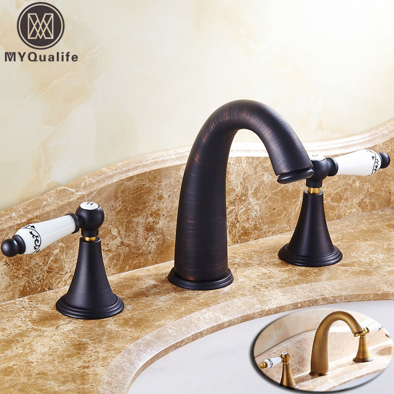 Antique/Bronze Widespread Bathroom Basin Faucet Dual Handle 3 Holes Basin Mixer Sink Taps Deck Mounted 2-Colors посох и тернии