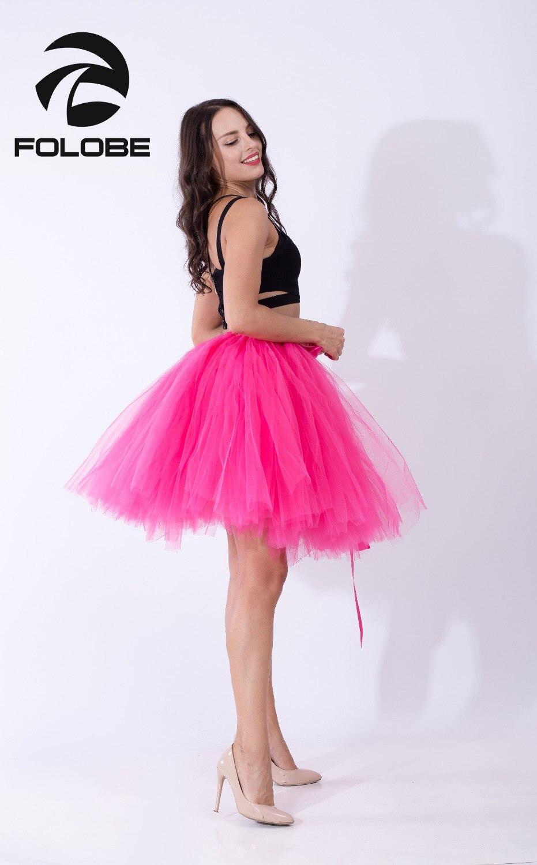 eccfb9029a FOLOBE Fuchsia Handmade Midi Tulle Skirts Tutu Skirts Women Ball Gown Party  Petticoats faldas saia jupe TT010-in Skirts from Women's Clothing on ...