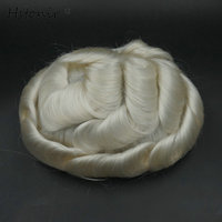 Hstonir תותב שיער פאה כסף Brezilyali Bakire שק נוכריות אנושי פאה גברים הסיליקון בסיס Maquiagem H079