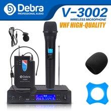 Debra Audio V3002 беспроводной VHF с портативным и Lavalier и гарнитурой микрофон микрофонная система для церкви, свадьбы, караоке!