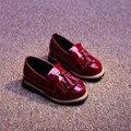 Новый 2016 Весна Детей Обувь Британский Стиль Девушки Кожаные Ботинки Прохладный Fringe Детская Обувь #2935