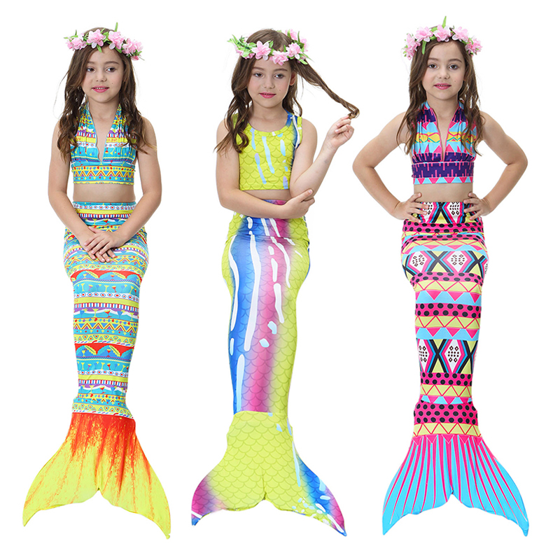 Bear Leader Girls Clothing Sets 2018 New Summer Little Mermaid Tail Bikini Suits Swim Costume Clothing Sets 3PCS For 3-12 Years