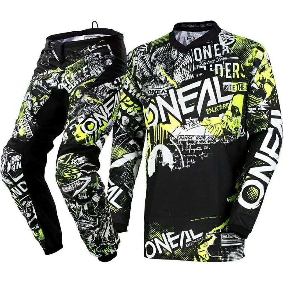 2018 Oneal Element Attack Motocross Jersey Pants Black Hi Viz Kit MX Set Riding Racing Gear