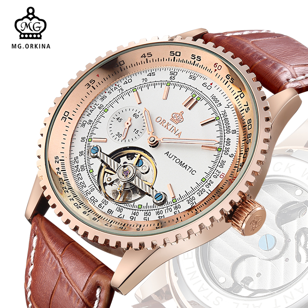 MG. ORKINA Mens Watches Top Brand Luxury Rose Gold Case Rotating Bezel Tourbillion Skeleton Male Clock Automatic erkek saatleri orkina brand clock 2016 new luxury chronograph rose gold case black dial japan movement mens wrist watch cool horloges
