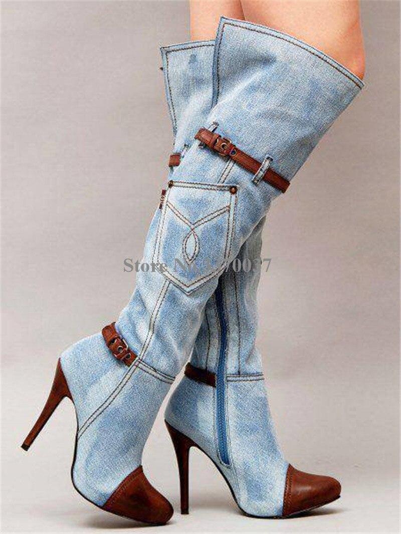 Gehorsam Hohe Qualität Frauen Mode Spitz Blau Denim Über Knie Stiefel Patchwork Lange Hohe Ferse Jean Stiefel Motorrad Stiefel