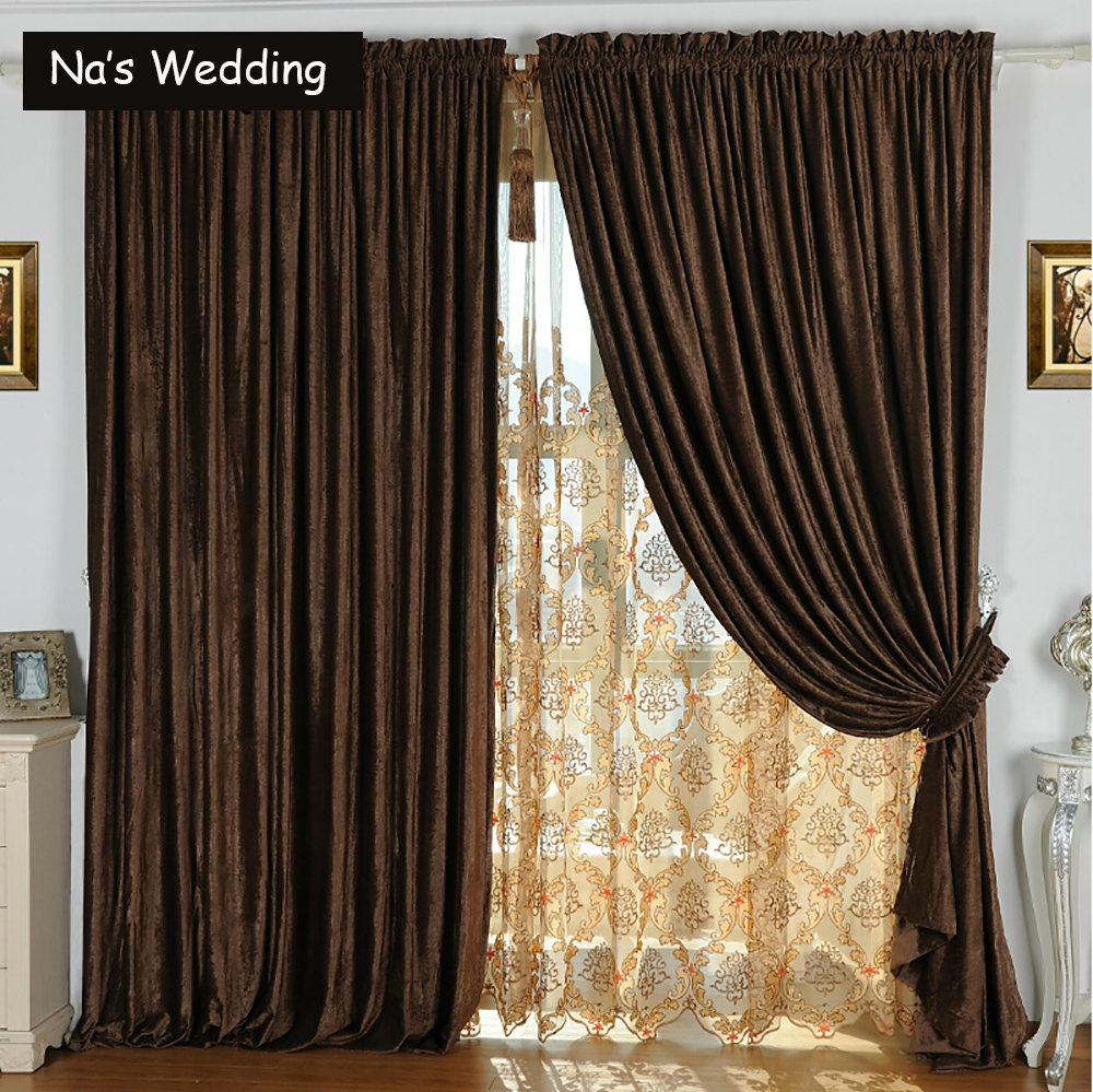 Na S Double Side Chenille Suede Curtains Luxury Solid Drape Panel