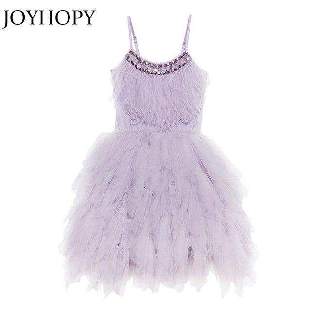 JOYHOPY Flower Girl Dress Fashion Feather Tassels Girls Wedding Party Dress Girls Princess Dresses Clothing 2-7 1