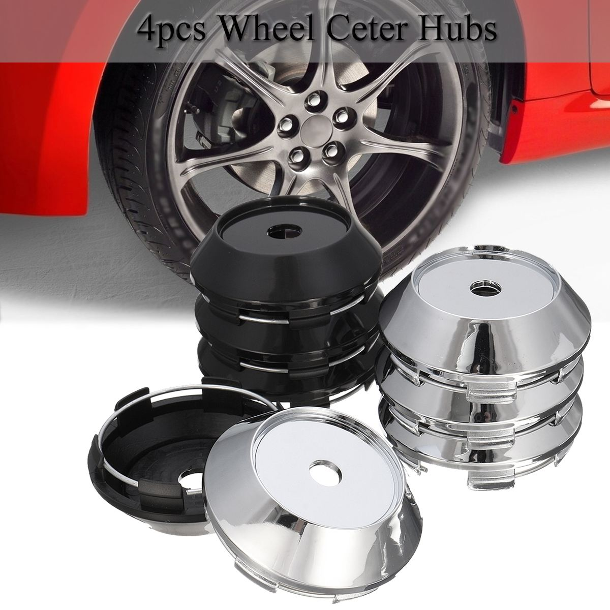 4pcs Universal 68mm ABS Chrome <font><b>Car</b></font> <font><b>Wheel</b></font> Center Plain <font><b>Hub</b></font> Caps <font><b>Covers</b></font> Holder image