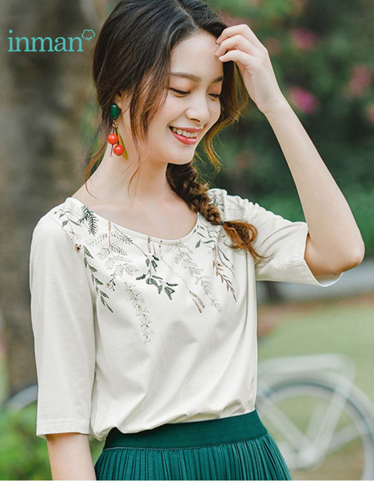 INMAN 2019 Summer New Arrival O-neck Literary Print Retro Casual All Matched Slim Half Sleeves Women T-Shirt Price $26.24