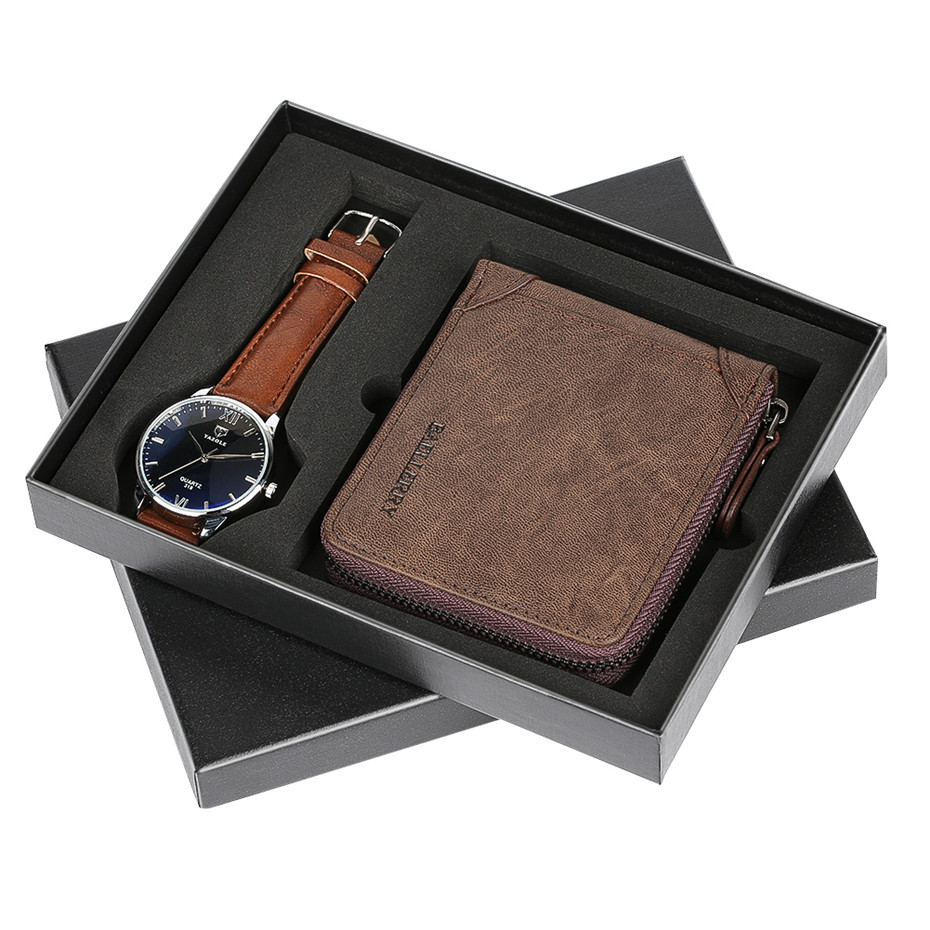 Business Style Wrist Watch & Brown Leather Wallet Men Gift Set Quartz Watches Man Clock Luxury Christmas Gifts for Father Male