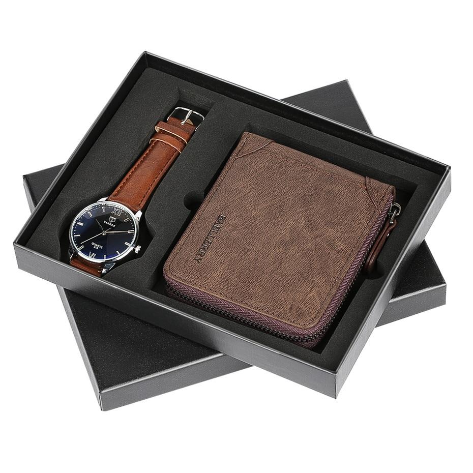 Minimaliste affaires hommes montre Quartz montre-bracelet Zipper portefeuille cadeau ensemble pour père fermeture Type cadeaux d'anniversaire pour homme