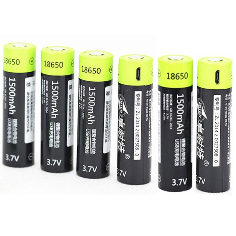 ZNTER 10 pièces 3.7 V 18650 batterie 1500 MAH Lipo pile rechargeable + 1 pc câble USB pour 18650 Batteries livraison directe