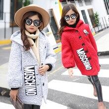 2016 Girls Winter Coat Children Clothing Girls Wool Coat Fashion Cartoon Bear High end Woolen Blends
