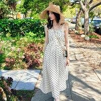 ARTKA 2019 Summer New Women Dresses Vintage A line Dot Dress Spaghetti Strap Long Dress High Waist Elegant Dresses JL19011