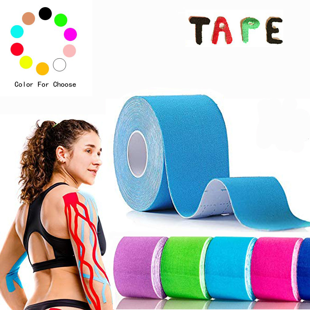5cm * 5m Kinesiologi tape elastisk Roll Muscle Bandage Bomull Elastisk Adhesive Strain Injury Muscle Sticker for tennis basketball