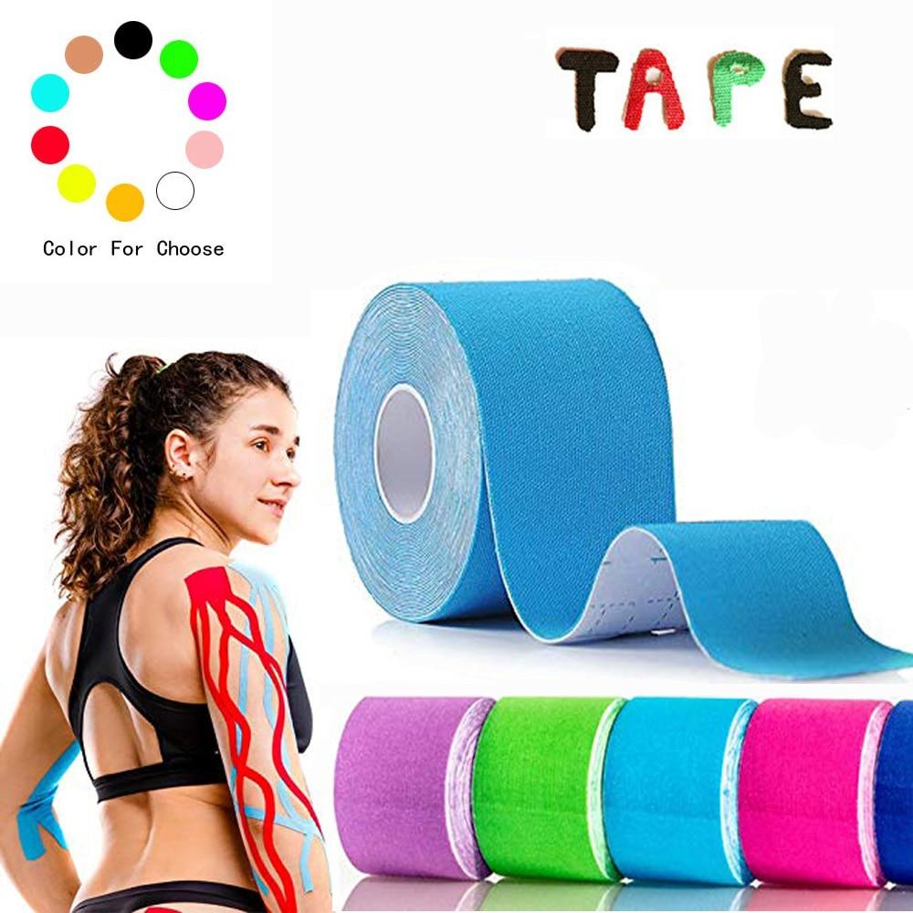 5cm * 5m Kinesiology pita elastik Roll Muscle Bandage Kapas elastik pelekat Strain Peregangan Otot Sticker untuk bola keranjang tenis