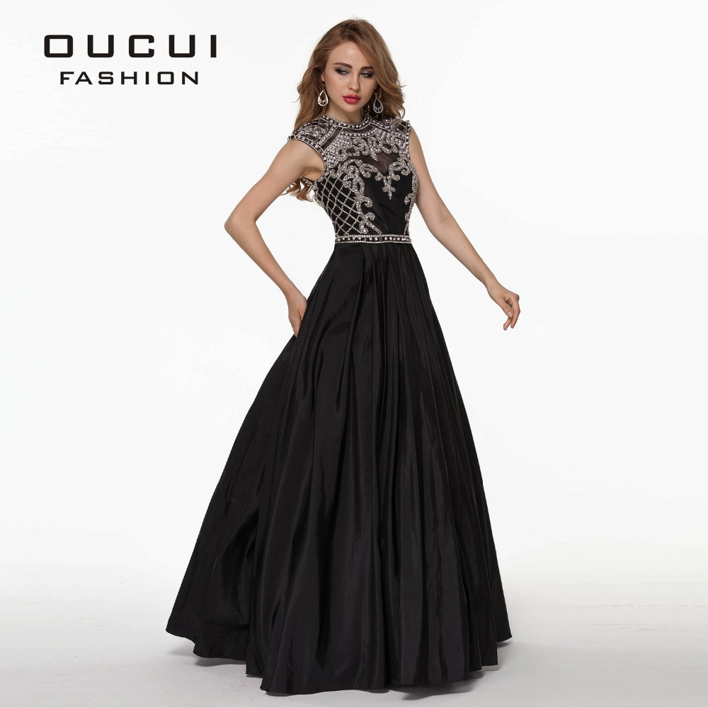 5d551601da519 US $153.9 10% OFF Taffeta Fabric 100% Handwork Sexy Design Black Color Long  crystal prom dress OL102515-in Prom Dresses from Weddings & Events on ...