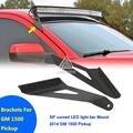 Para Chevrolet GMC Offroad Luz LED Bar Soporte Superior Del Parabrisas 50 Pulgadas Curvada Recta Lámpara de Conducción Kit De soporte de Montaje