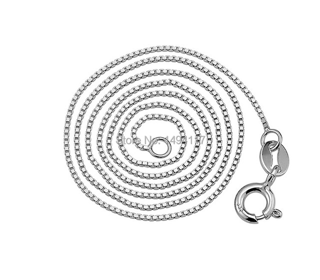 Fashion  925 Sterling Silver jewelry-  fine jewelry  width 0.8mm box chains/chokers necklace Festival gifts Clothing accessories