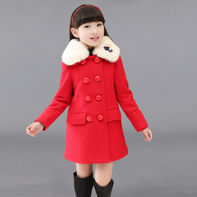 Warm Winter Girls Coat Red Fur Collar Wool Long Outwear Children Winter Coat 2017 Girls Clothes For 6 8 10 12 14 Years AKC166002