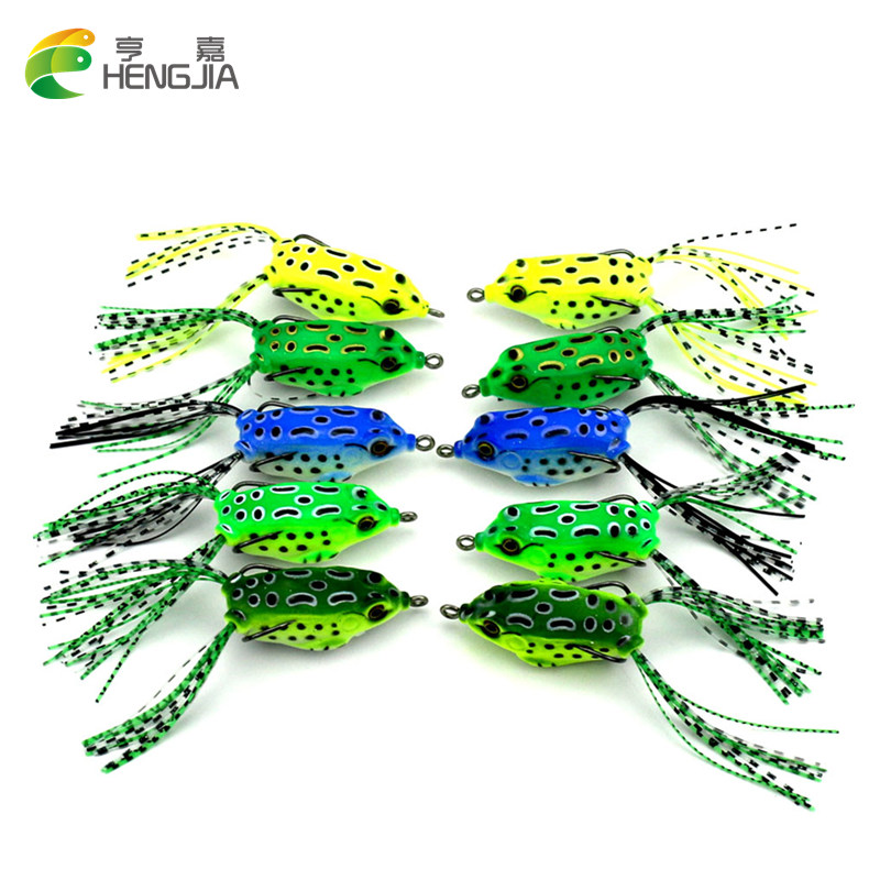 все цены на HENGJIA 1PC soft tube bait japan plastic fishing lures frog lure treble hooks Topwater ray frog 5.5CM 8G artificial soft bait онлайн