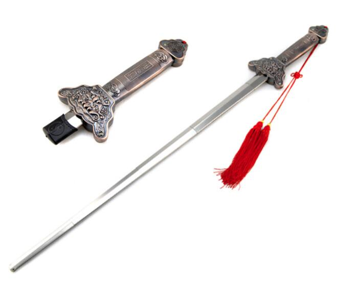 HOT Outdoor Kung Fu Tai Chi Extension Sword Stainless Steel Telescopic Longquan Sword No Edge 87.5CM 92CM