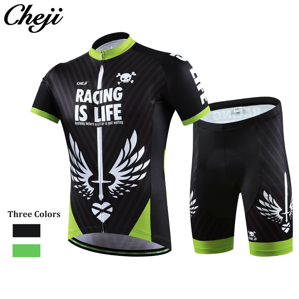Cycling Clothing 2016 CheJi Summer Pro Cylcing Jersey Shorts Set Men All Size Black White Color Bike Clothes Ropa De Ciclsmo