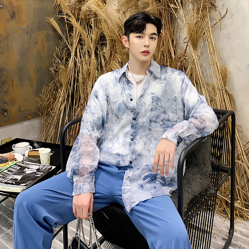 Spring New Shirt Men Fashion Printing Thin Section Casual Shirt Man Streetwear Trend Wild Hip Hop Loose Long sleeved Shirt M 2XL in Casual Shirts from Men 39 s Clothing