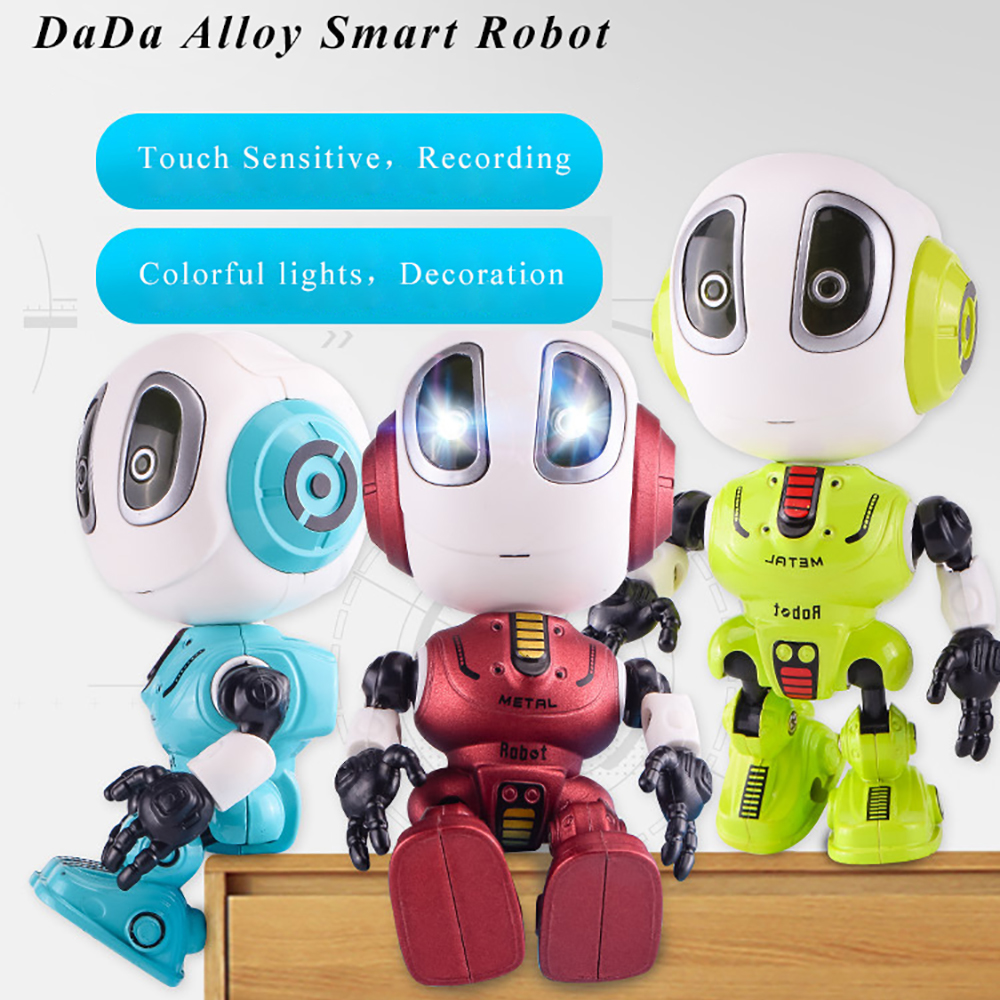 Smart Talking Robot Toy DIY Gesture Electronic Action Figure Toy Head Touch-Sensitive LED Light Alloy Robot Toys For Kids Gift