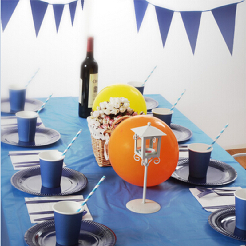 69pcs for 8 Persons Disposable tableware sets series blue Children/Adults Birthday Wedding Party Decoration paper dinnerware