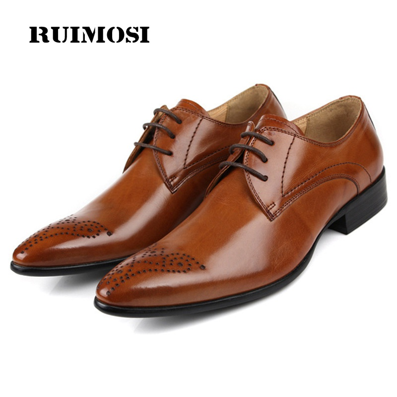 RUIMOSI Pointed Toe Man Formal Dress Shoes Vintage Genuine Leather Male Oxfords Semi Brogue Men's Breathable Bridal Flats EH60