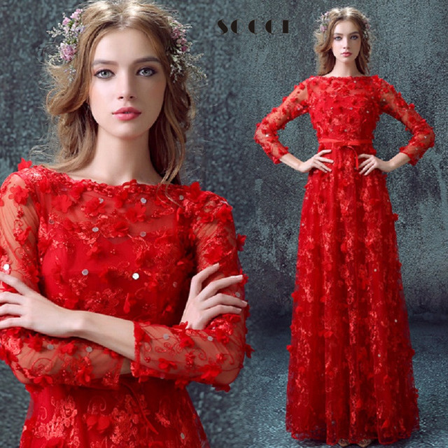 2016 New Arrival Long Red elegant Cocktail Dresses Muslim Zipper A-line Pearl Flowers Formal Wedding Party Reception Prom Dress