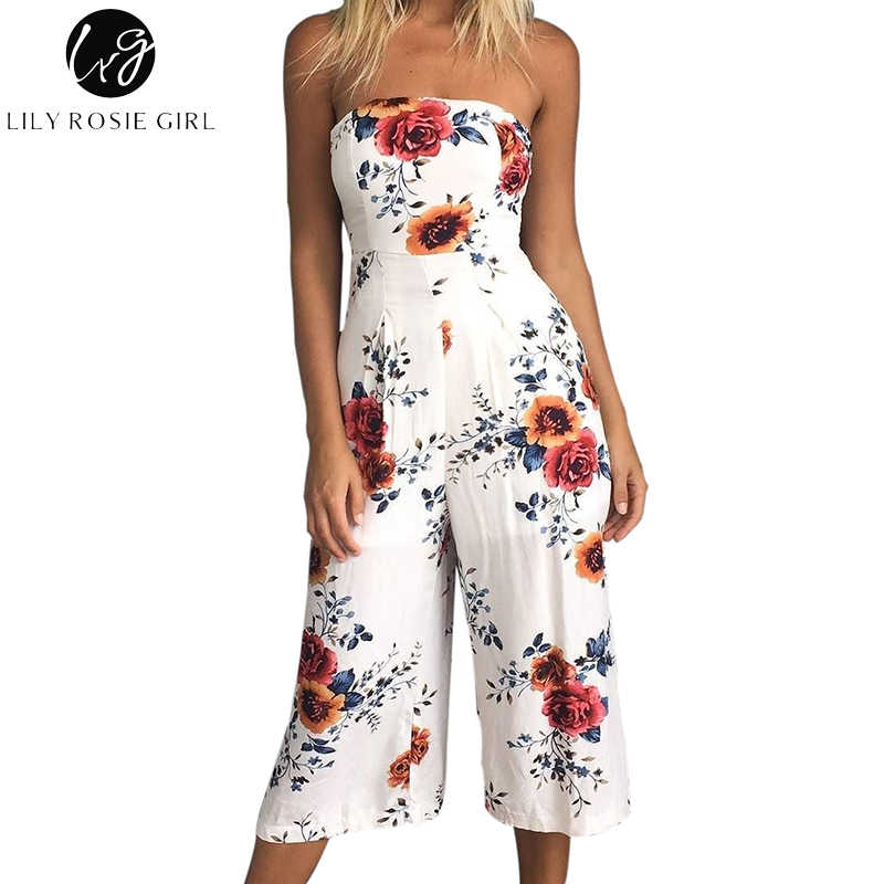 cd74091bfe3 Lily Rosie Girl Off SHoulder White Boho Floral Print Jumpsuits Women Sexy  Summer Beach Backless Long