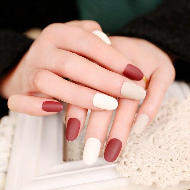 Matte Wine Red Beige Lady False Nails Medium Mix Color Press on ...